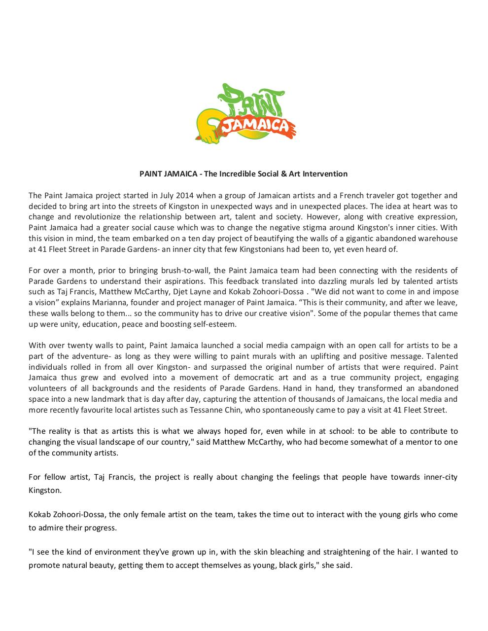 Document preview PAINT JAMAICA PRESS RELEASE PDF.pdf - page 1/5