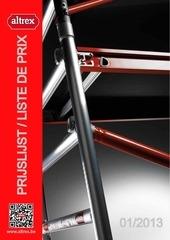 altrex prijslijst liste de prix 2013