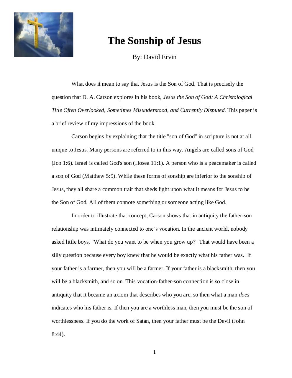 Document preview The Sonship of Jesus.pdf - page 1/5