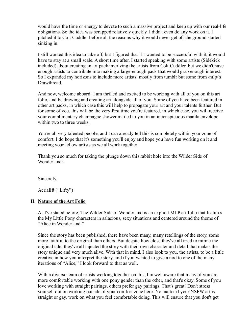 Document preview Wilder Side of Wonderland Info Sheet for Artists.pdf - page 2/5