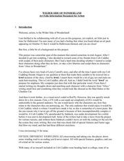 wilder side of wonderland info sheet for artists