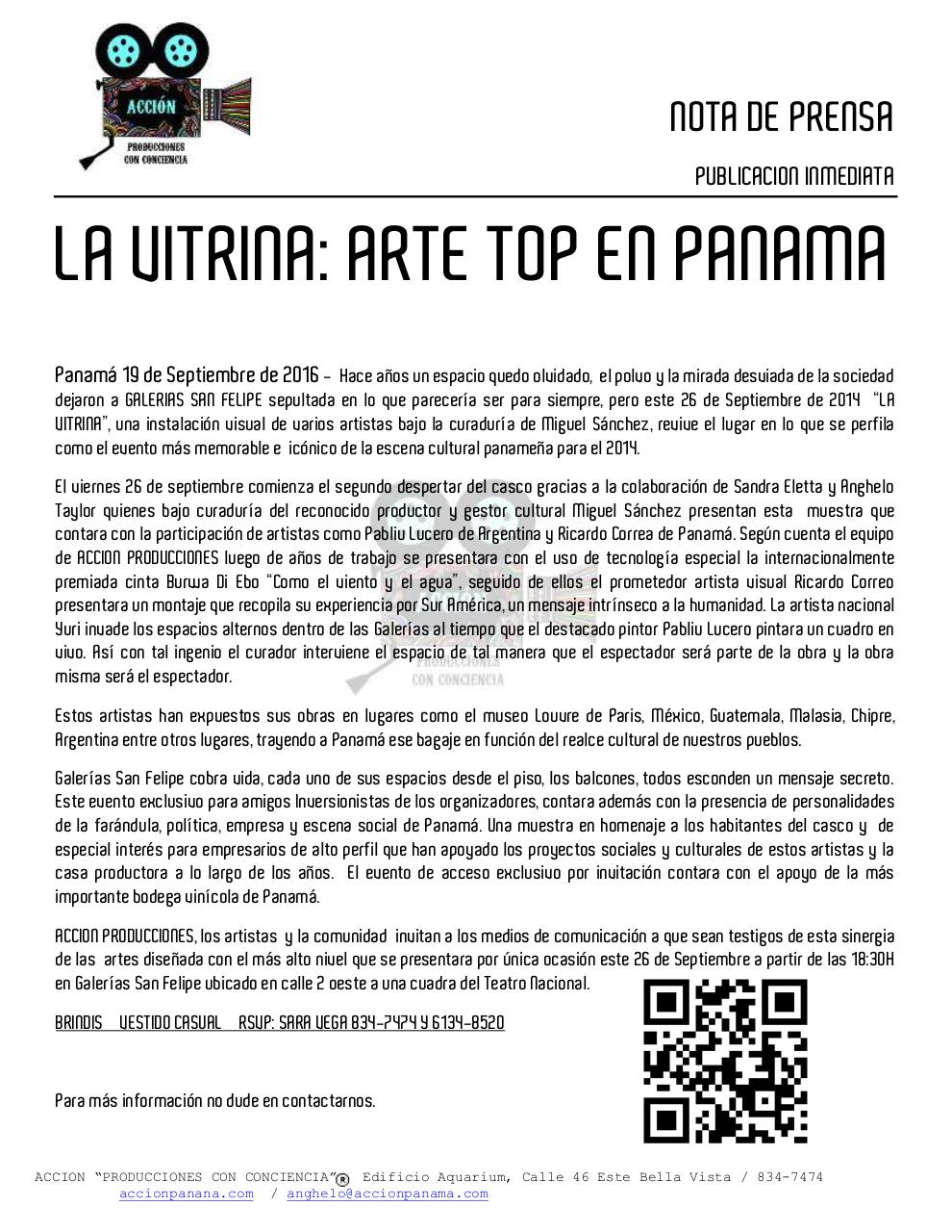 Document preview NOTA DE PRENSA 001 - LA VITRINA.pdf - page 1/1