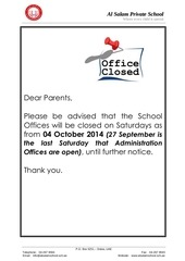 office closed as from 04 oct