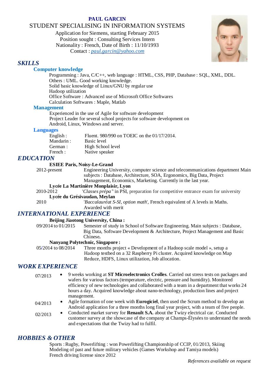 paul garcin resume by paul g
