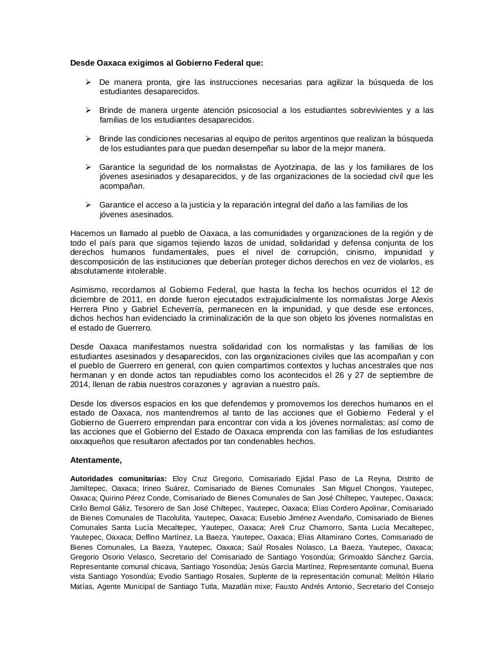 Document preview 141014COMUNICADO_Osc Oaxaca Ayotzinapa.pdf - page 2/4