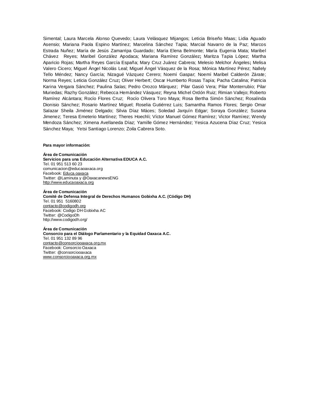 Document preview 141014COMUNICADO_Osc Oaxaca Ayotzinapa.pdf - page 4/4