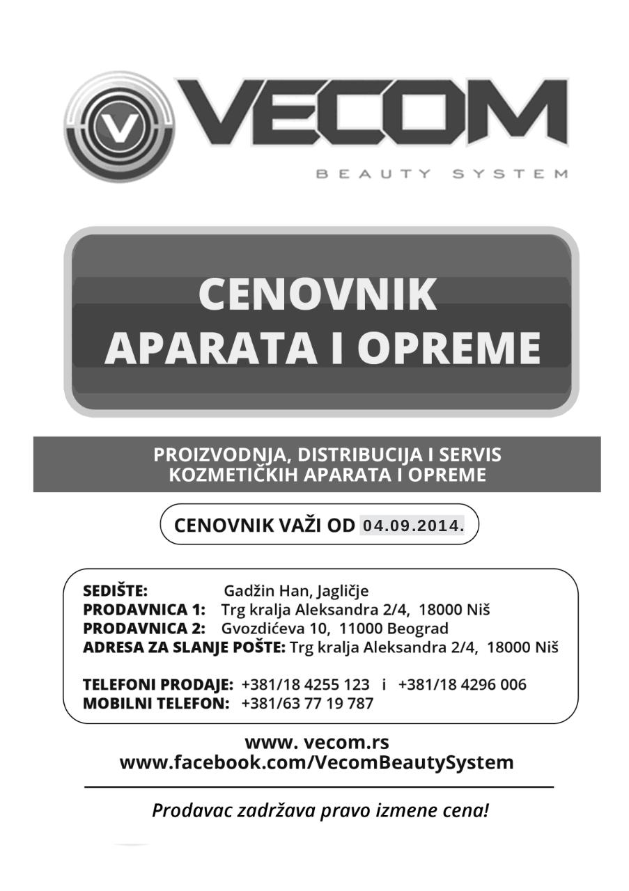 Document preview VECOM - Cenovnik aparata i opreme.pdf - page 1/4