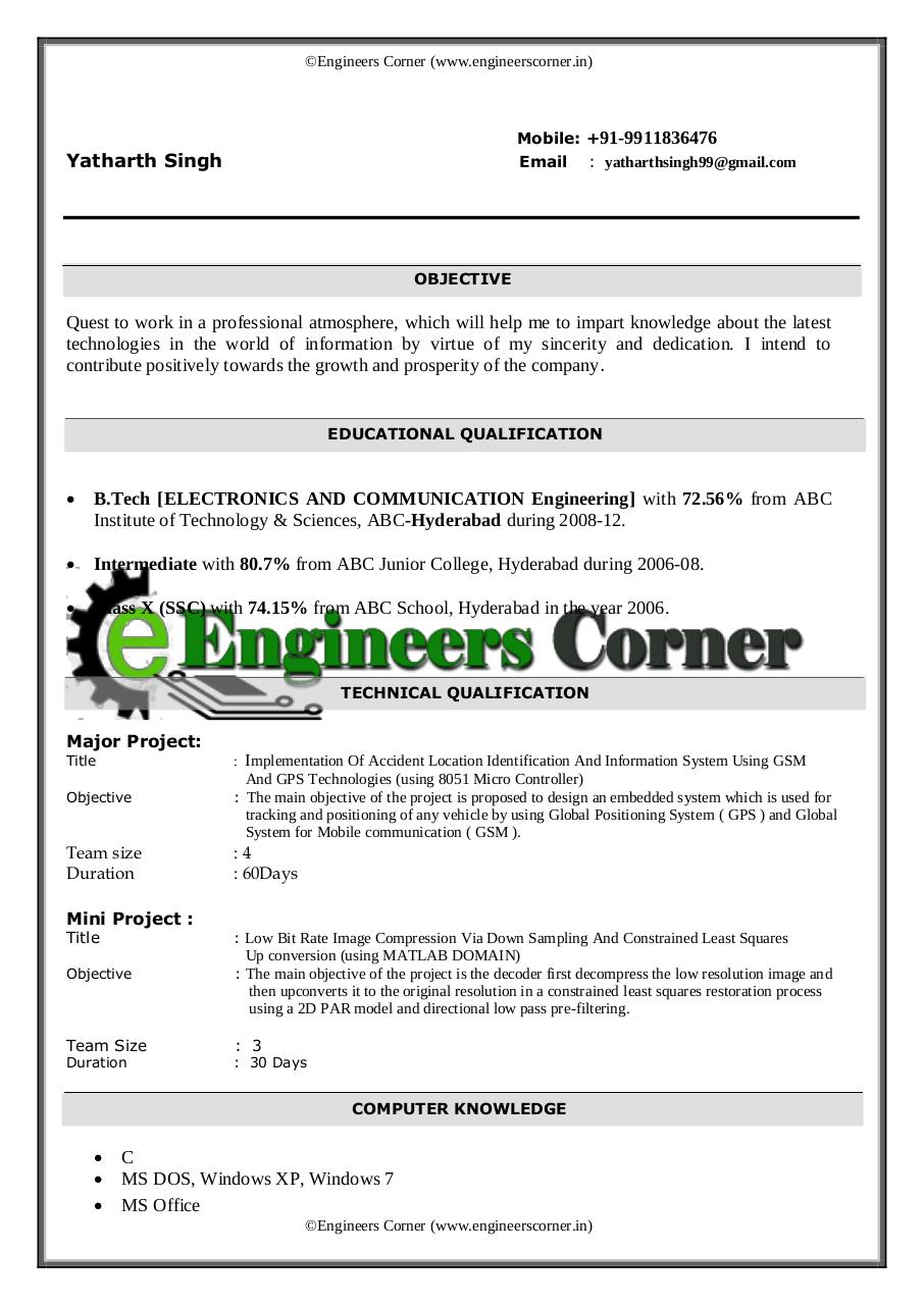 Resume for Software Programmer by Rama Krishna - B Tech ECE Resume ...