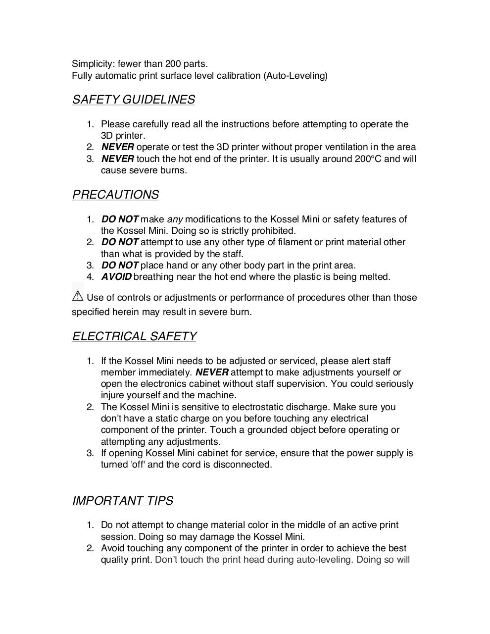 Document preview Kossel Mini 3D Printer Safety.pdf - page 2/3