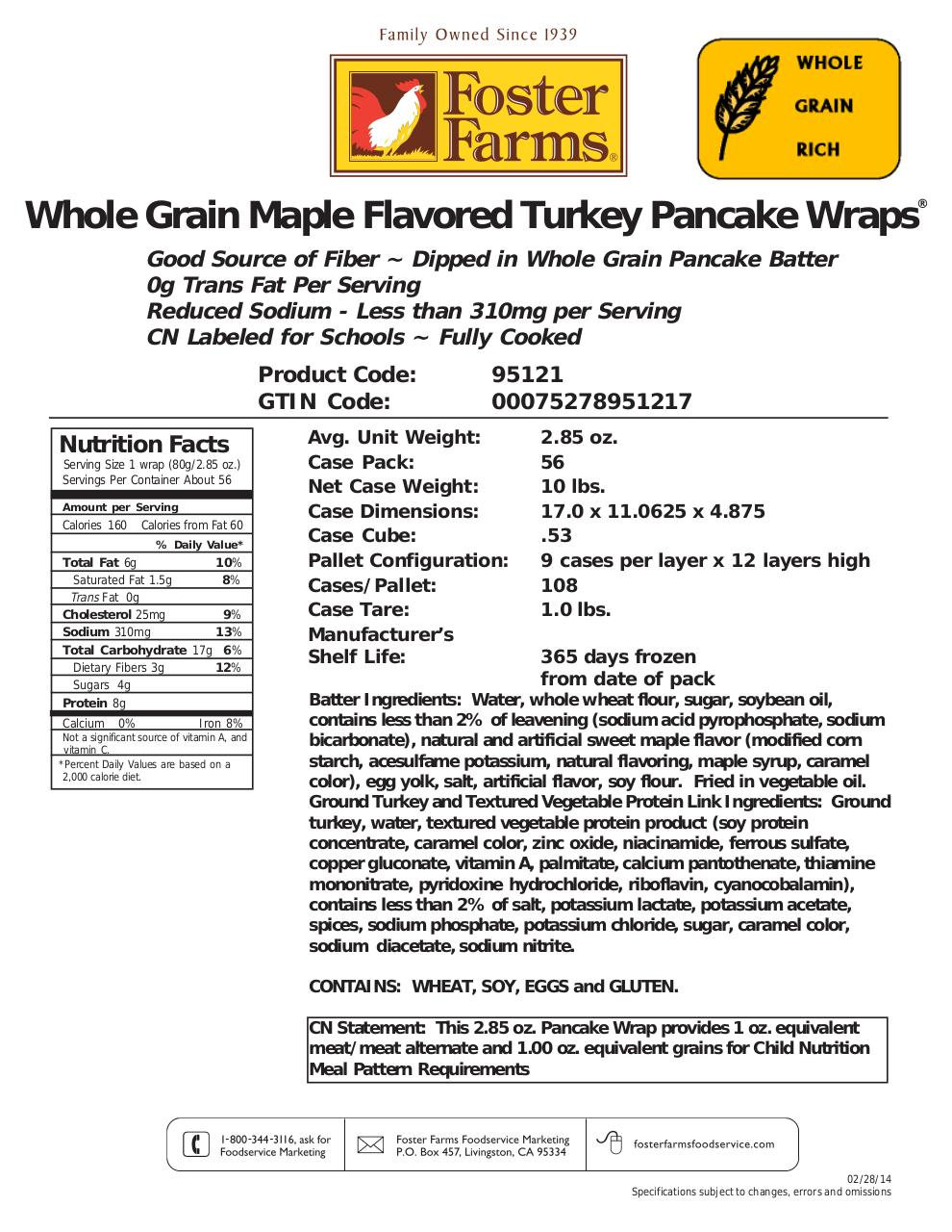 Document preview 825591_Turkey_pancake_wrap_fosterfarms.pdf - page 1/2