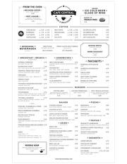 cafe central menu 2014
