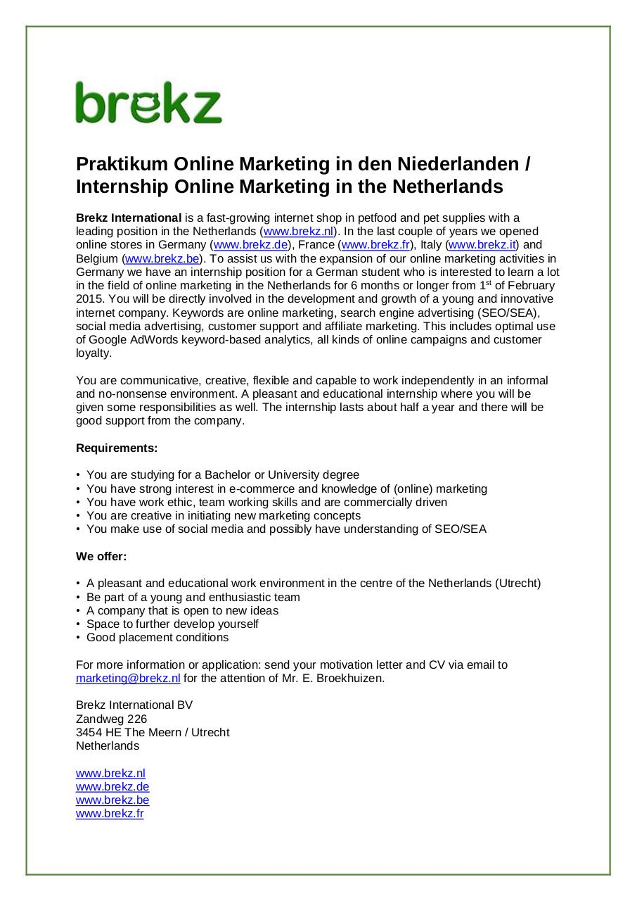 Document preview Stage Online Marketing in Netherlands Feb  2015 Germany.pdf - page 1/1