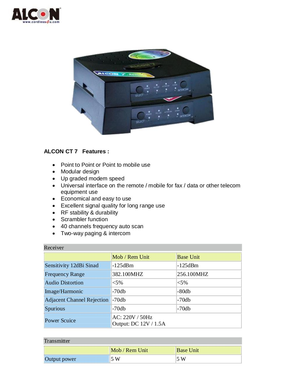 ALCON 7 Specification in PDF www.shop-wifi.com.pdf - page 1/2