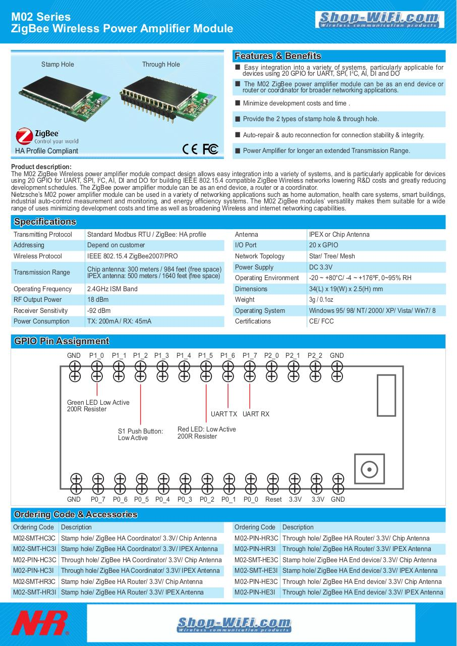 Document preview M02 Series NHR ZigBee Wireless Power Amplifier Module.pdf - page 1/1