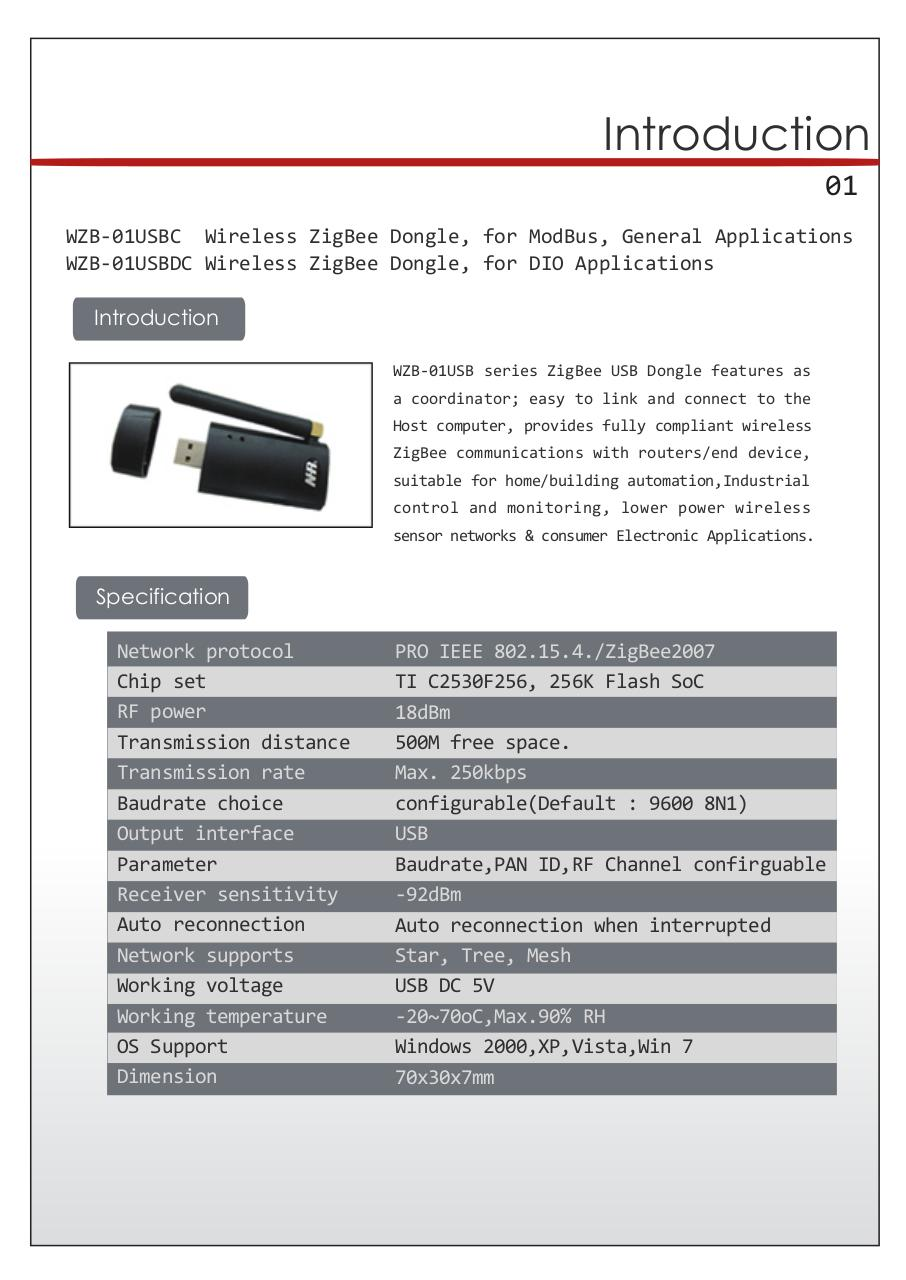 usb 01 manual(72dpi) - WZB-01USB ZigBee USB DONGLE User Manual pdf