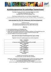 ausschreibung f r die ausbildungsseminare 2015