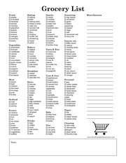 grocery list with extra space