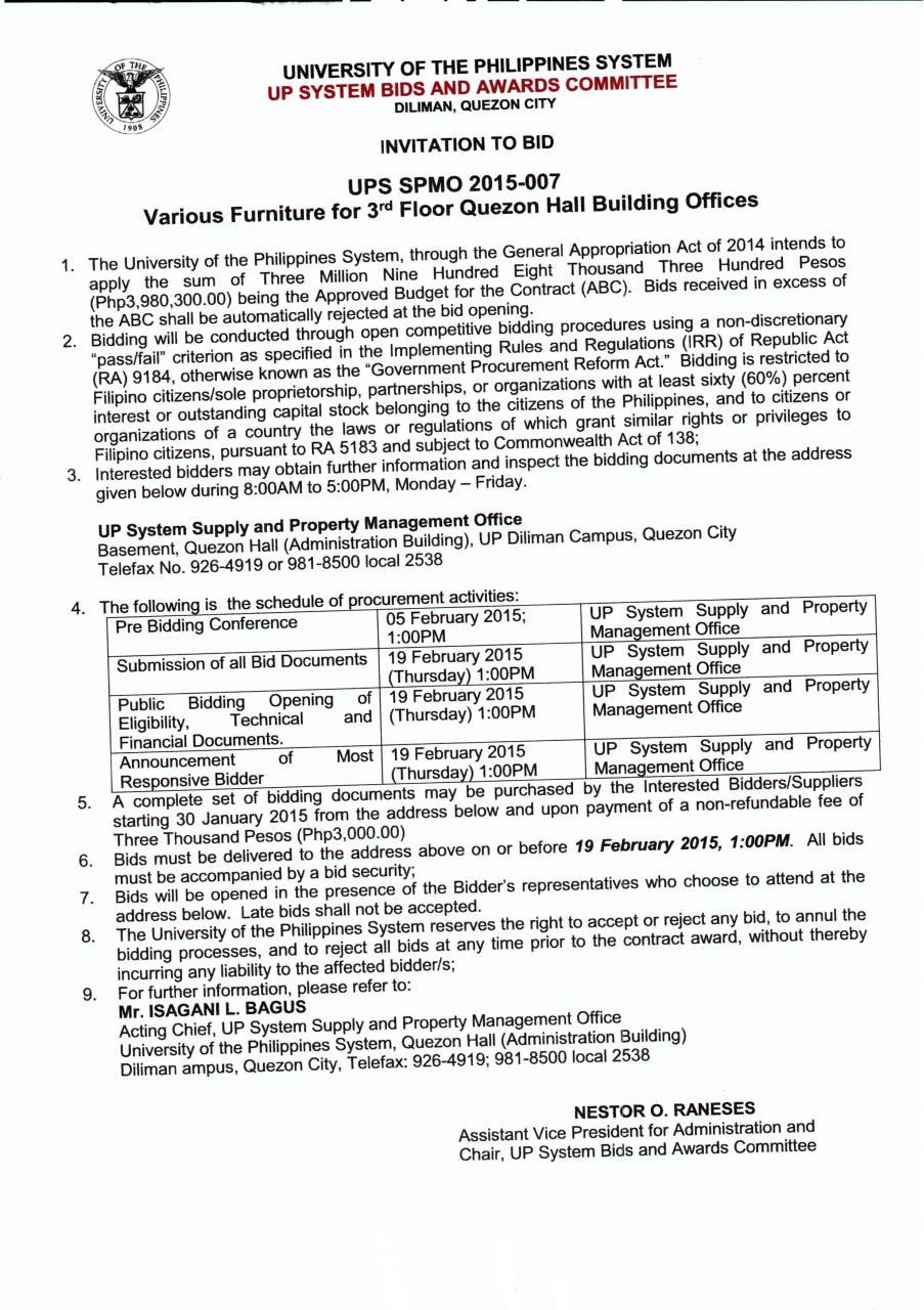 Invitaion To BID_One Lot Quezon Hall furnitures (3rd Floor).pdf - page 1/9