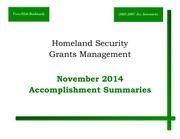 hlsec grants management accomplishment november 2014 ca 2