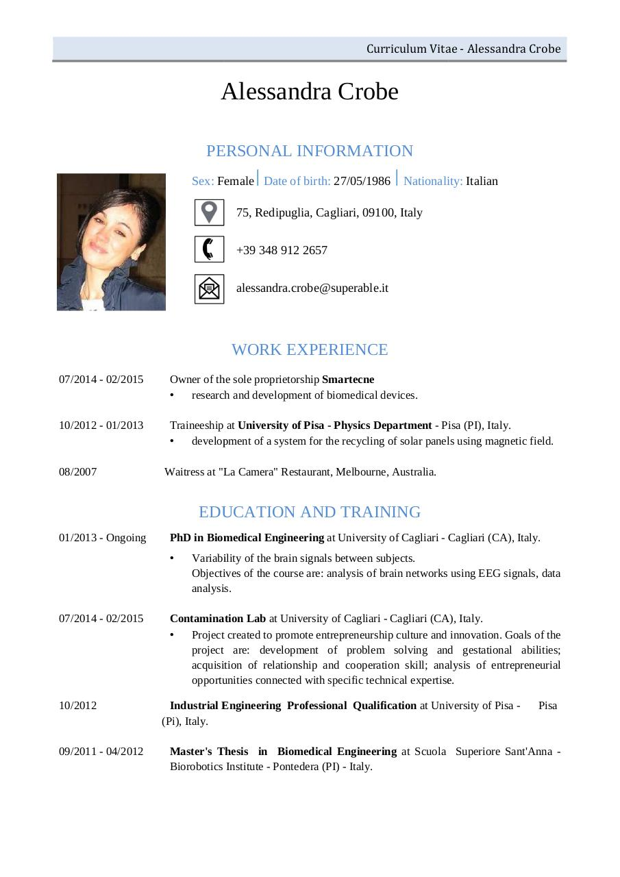 cv for a waitress inspirenow cv alessandra crobe cv alessandra crobe pdf pdf archive waitress at quot la camera quot restaurant
