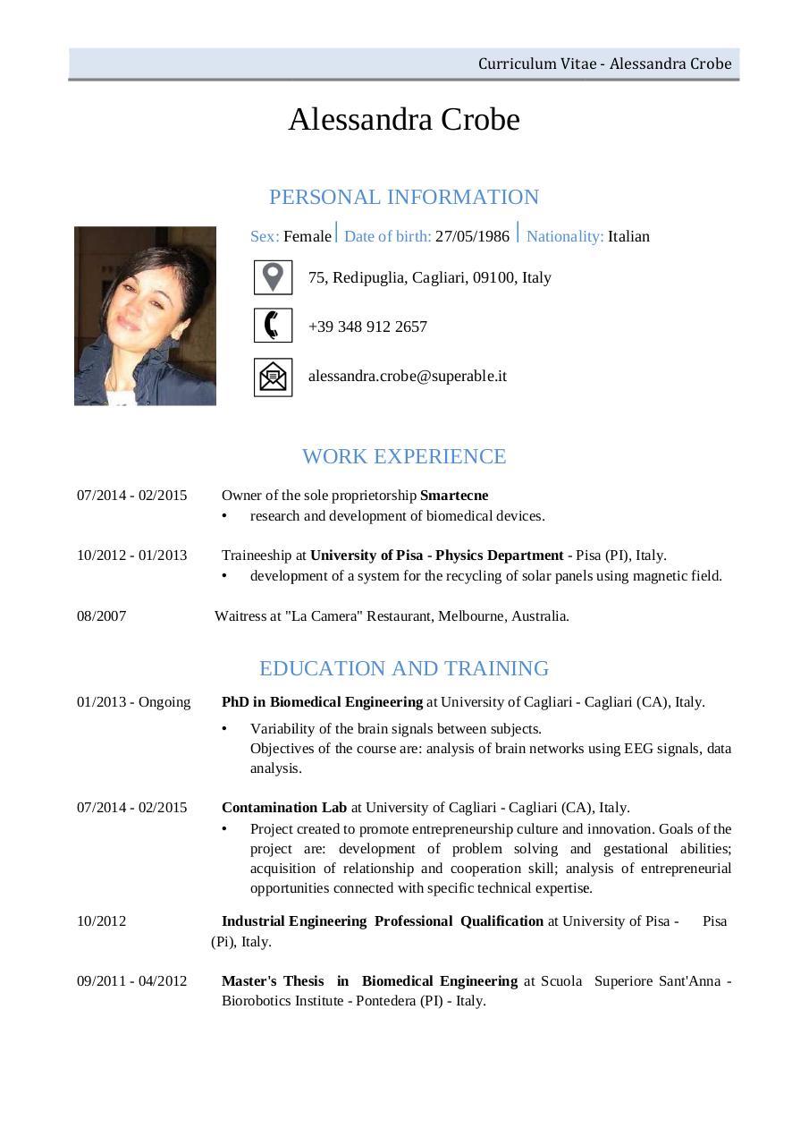 CV ALESSANDRA CROBE by utente1 - CV ALESSANDRA CROBE pdf - PDF Archive