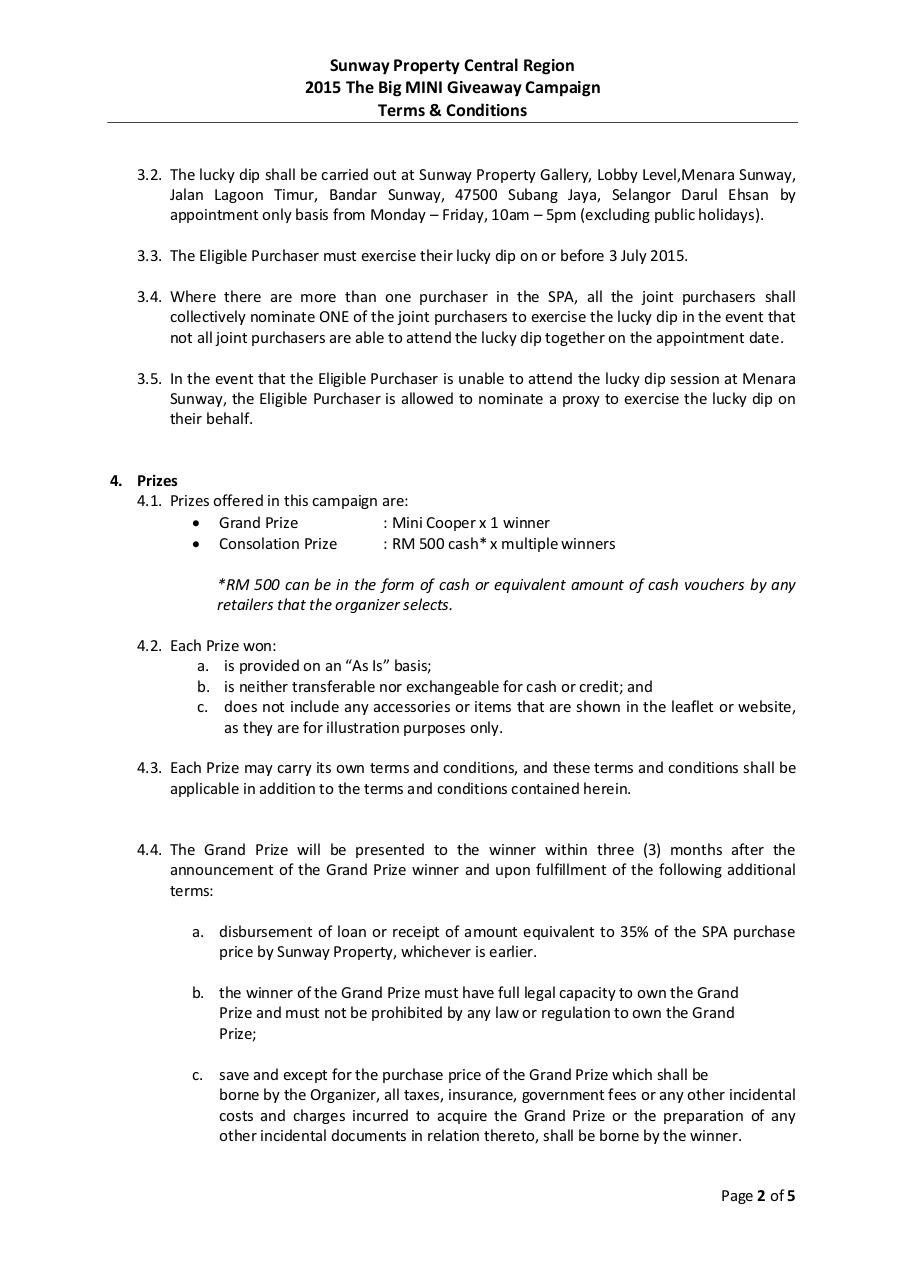 The Big MINI Giveaway Campaign Terms & Conditions.pdf - page 2/5