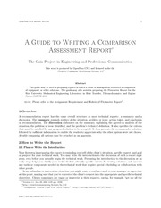 PDF Document a guide to writing a comparison assessment report 1