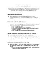 kickoff checklist