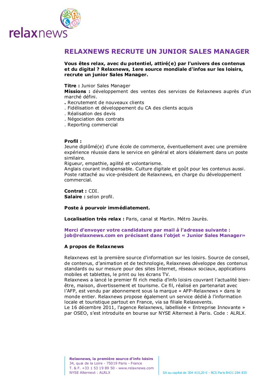 Document preview Relaxnews recrute JUNIOR SALES MANAGER.pdf - page 1/1