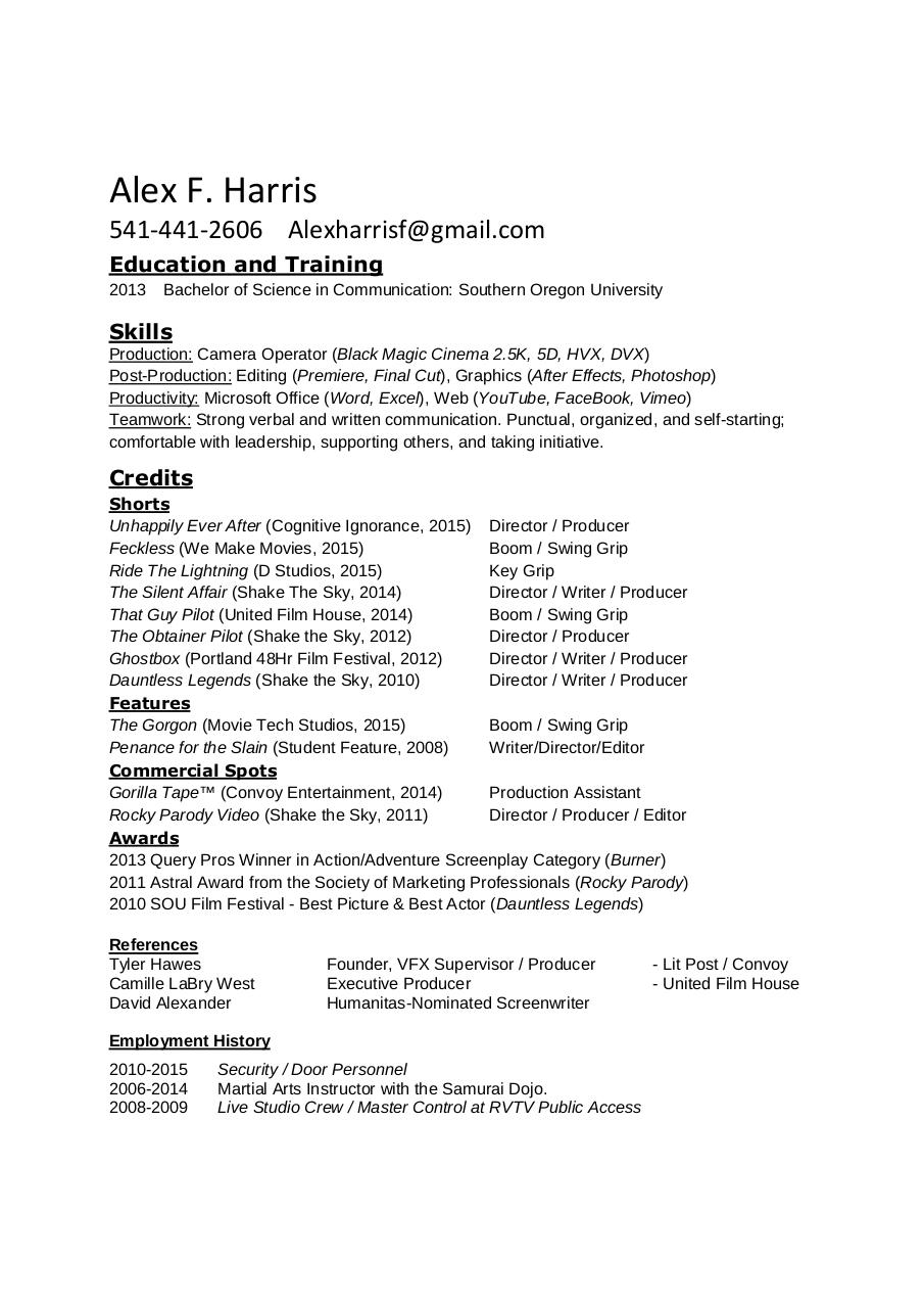 Document preview Alex F. Harris Resume.pdf - page 1/1