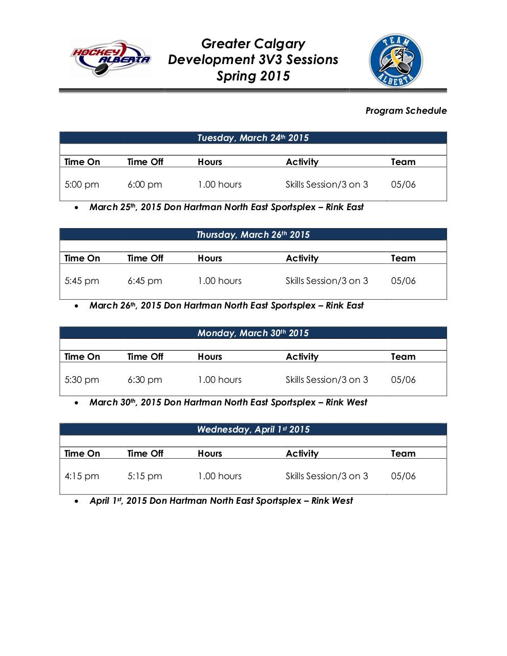 Document preview Calgary 2015 3V3 Spring Development Schedule.pdf - page 1/3