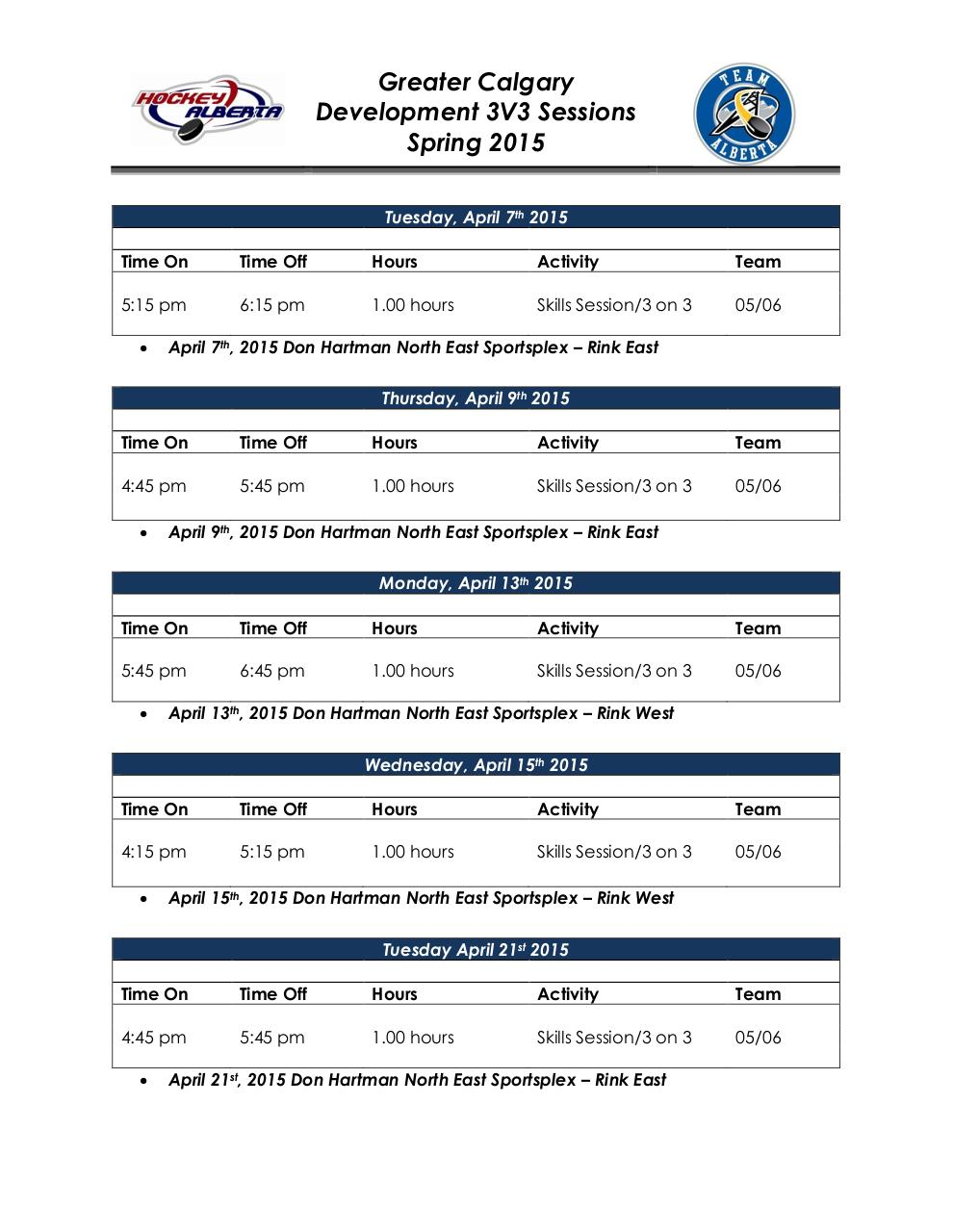 Document preview Calgary 2015 3V3 Spring Development Schedule.pdf - page 2/3