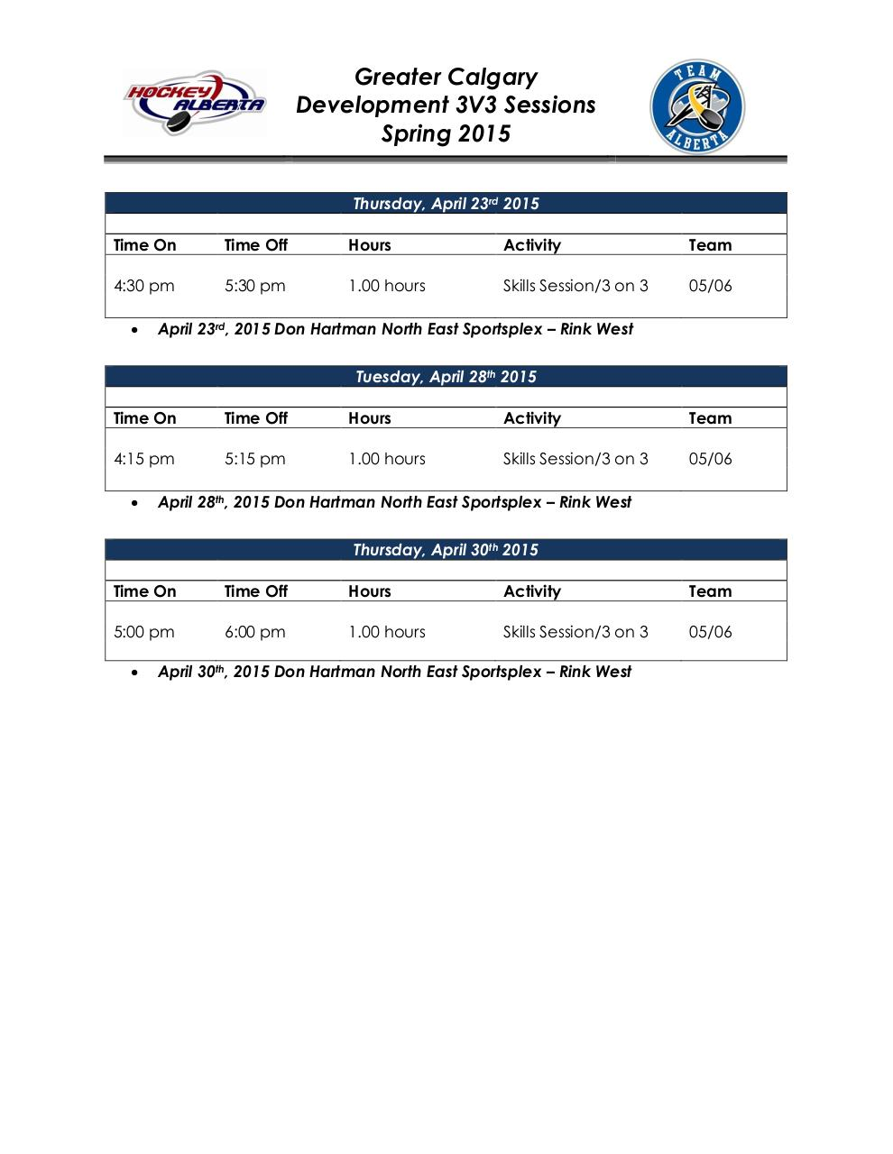Document preview Calgary 2015 3V3 Spring Development Schedule.pdf - page 3/3