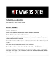 2015mfeawards categories questions