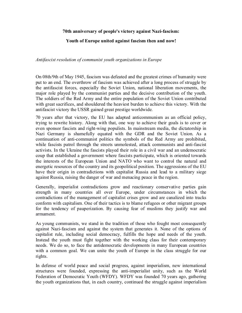 Document preview Antifascist Resolution 8-9th May 2015.pdf - page 1/2