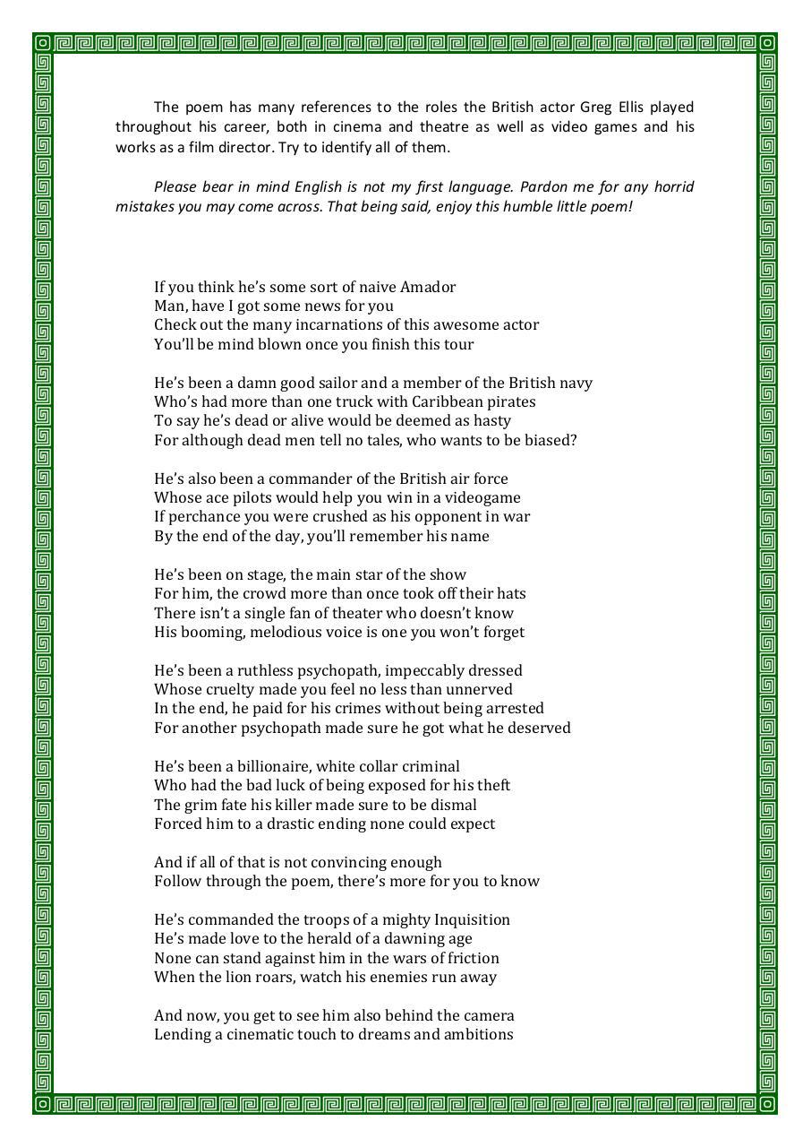 Happy Birthday Greg Ellis Poem By The Archivist By Aline Pdf Archive
