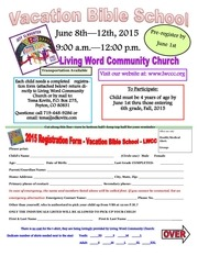 vbs child registration forms