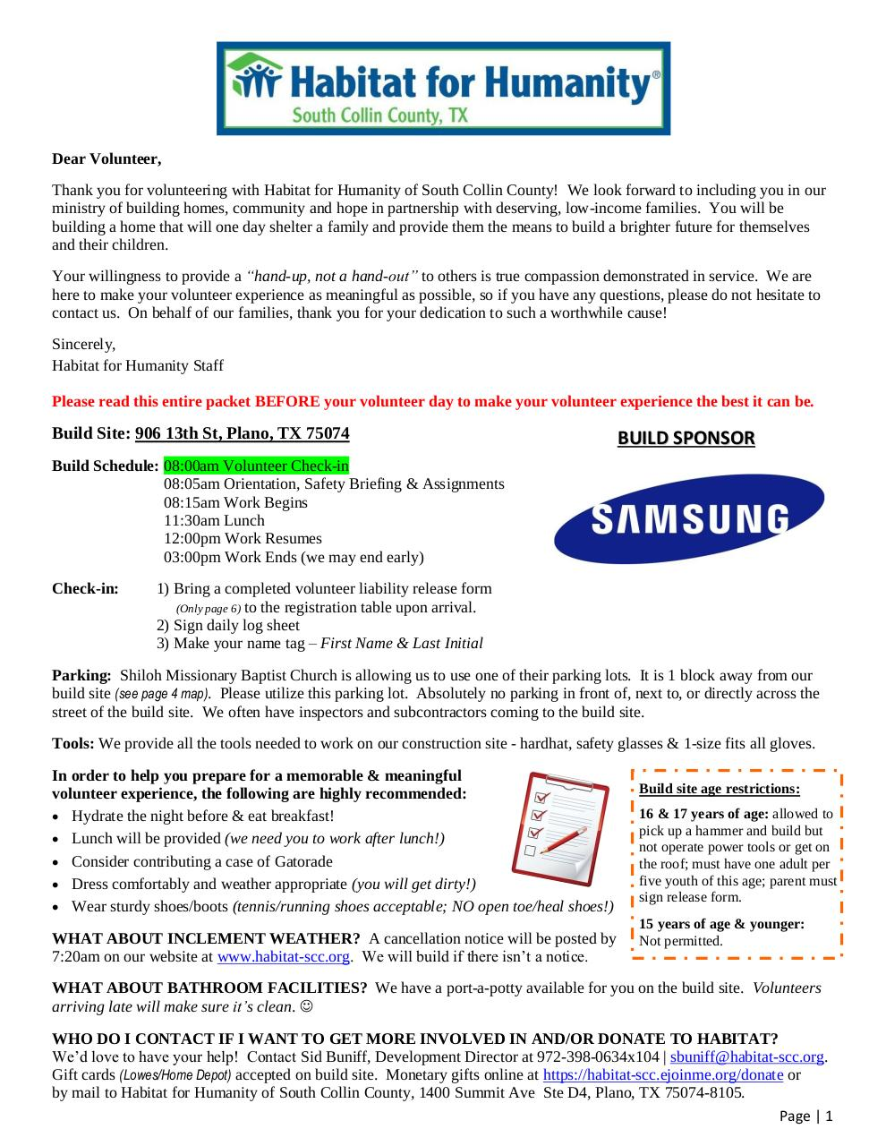 Volunteer Packet 2014-2015 - Habitat Samsung Build 2.pdf - page 1/6