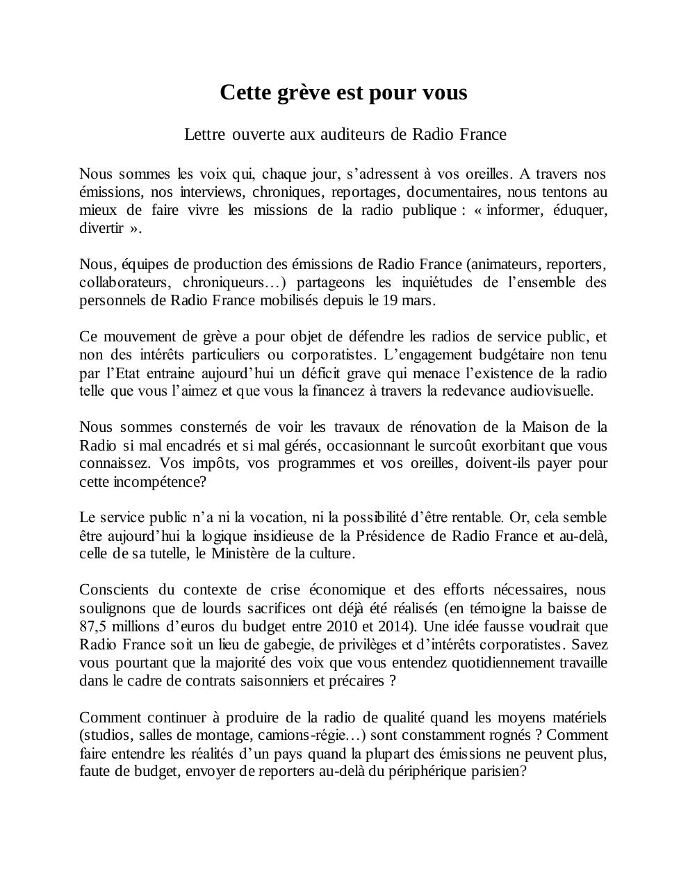 Document preview Lettre aux auditeurs de Radio France (def).pdf - page 1/2
