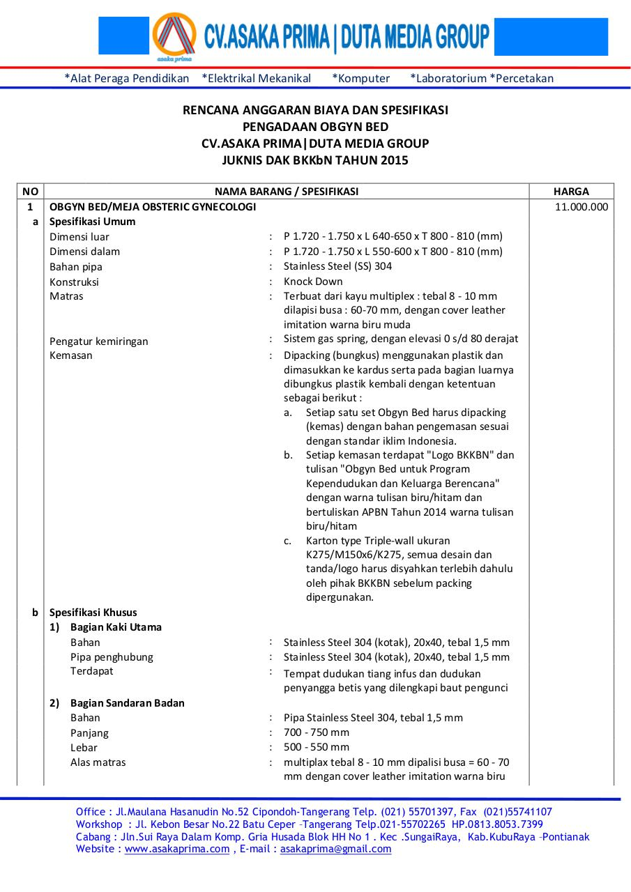 Document preview RINCIAN OBGYN BED & BROSUR OBGYN BED BKKbN 2015.pdf - page 2/4