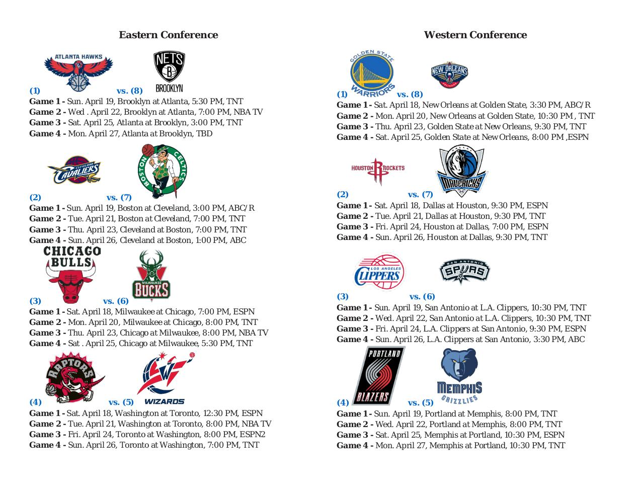 Document preview NBA 2015 Playoffs First Round Schedule.pdf - page 1/1