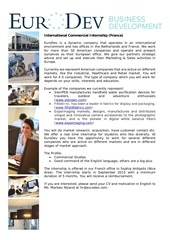 international commercial internship france september 2015