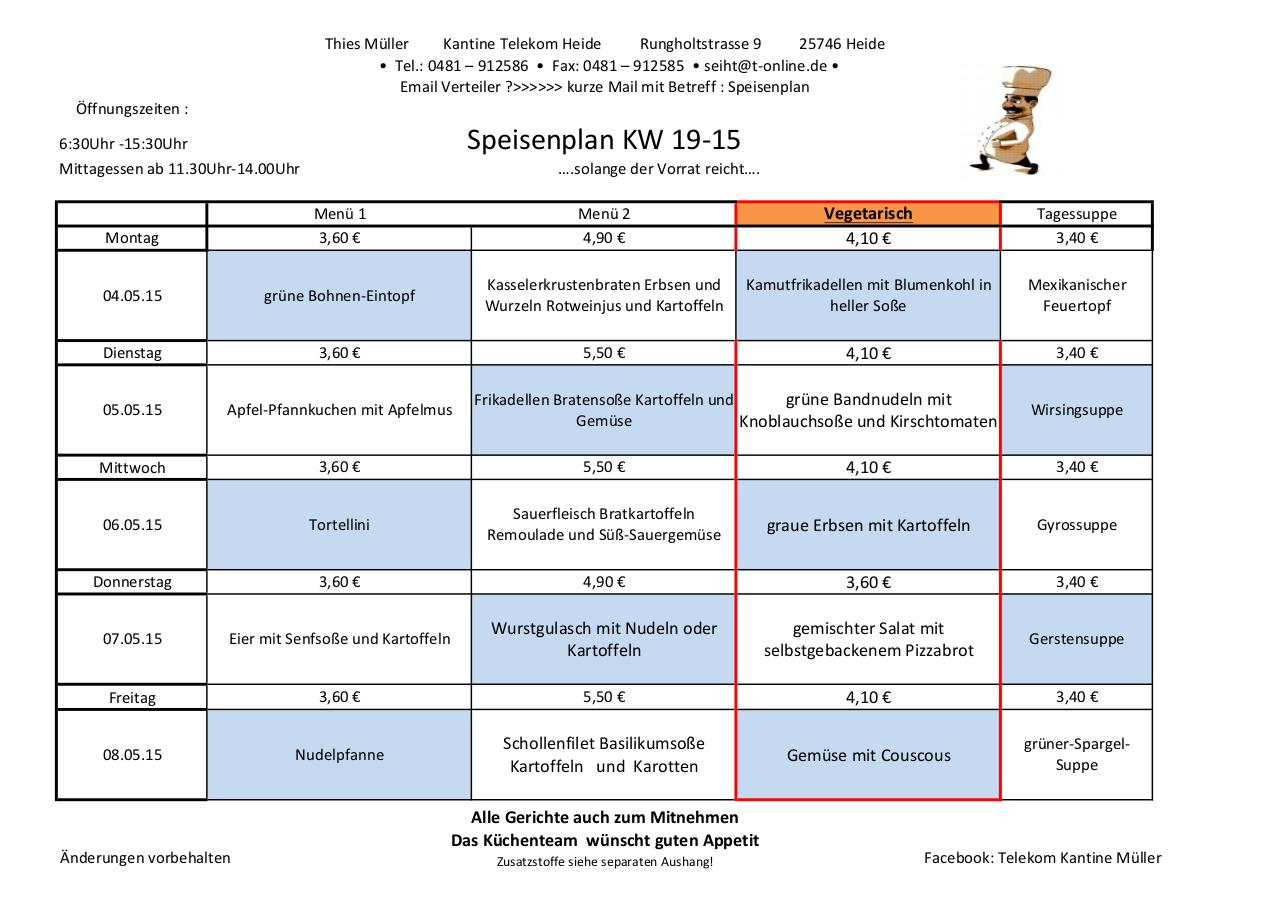 Document preview Speiseplan 19-15 KW Kantine Telekom Heide .xlsx.pdf - page 1/1