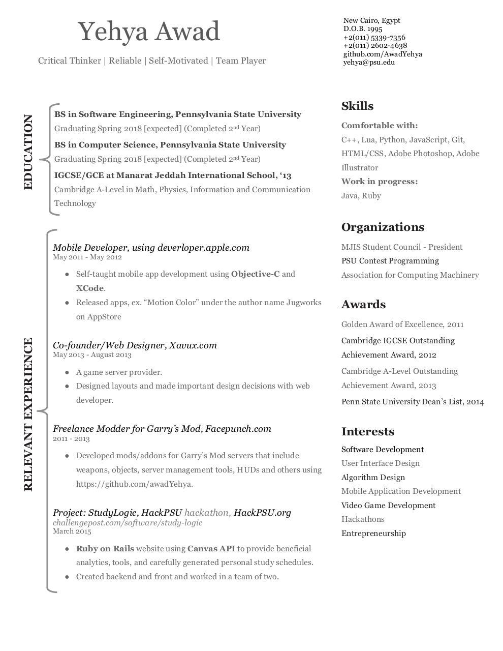 Yehya Awad Resume May 2015 docx - Yehya Awad - Resume May 2015 pdf