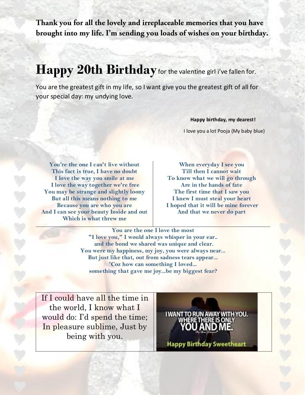 happy 20th birthday for the valentine girl i by keshav ujoodha pdf
