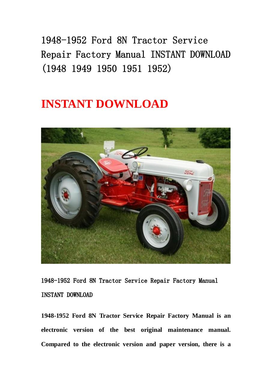 1948 1952 ford 8n tractor service repair factory manual by rh pdf archive com service manual for 8n ford tractor service manual for 8n ford tractor