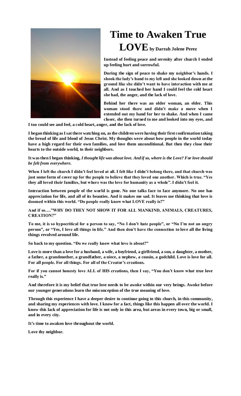 Do we know what true love is article by Darrah Joseph - PDF