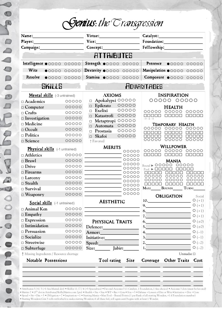 Document preview Genius Character Sheet.pdf - page 1/2