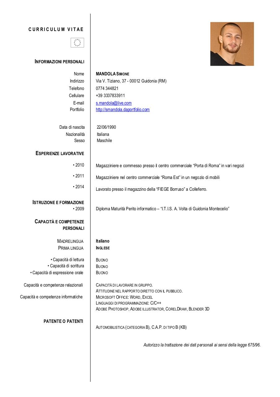 formato europeo per il curriculum vitae mandola cv