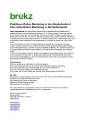 praktikum online marketing in den niederlanden june 2015